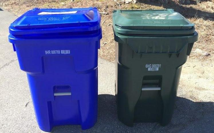 E.L. Harvey recycling and trash bins